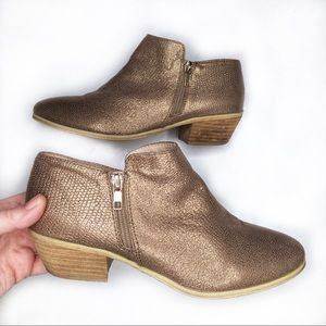VERY VOLATILE Gold Sparkle Ankle Boots 9 EUC